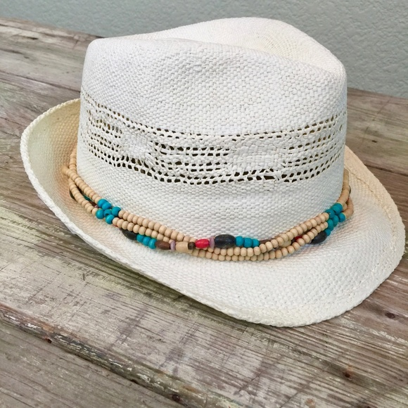 302a364124b520 Aventura Accessories | Nwt Summer Straw Fedora Wood Beaded Band ...